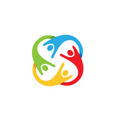 Colorful abstract people characters logo vector
