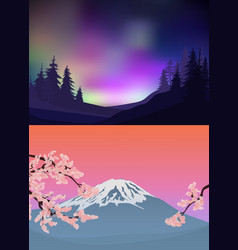 colorful nature landscape templates vector image