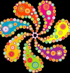 Colorful paisley spiral over black background vector image
