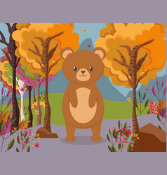 cute bear standing in forest hello autumn vector image