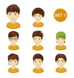 Cute brunet little boys with various hair style vector