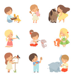 Cute little kids feeding animals set adorable vector