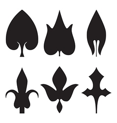 Decorative black leaves pattern set isolated on vector