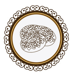 Decorative frame with silhouette set donuts with vector