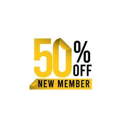 Discount 50 off new member template design vector