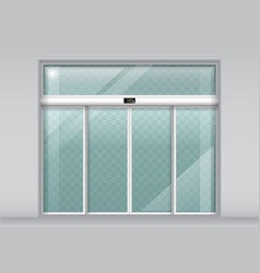 Double sliding glass doors with automatic sensor vector