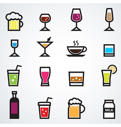 drink icons set color vector image