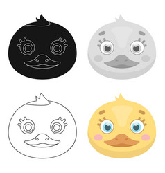 duck muzzle icon in cartoon style isolated on vector image