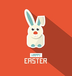 Easter Paper Flat Design Bunny on Red Backgr vector image