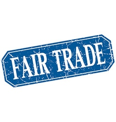 Fair trade blue square vintage grunge isolated vector
