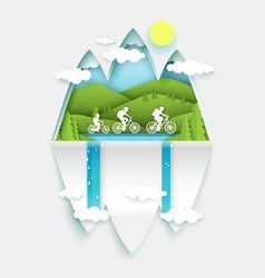 family bike travel happy father mother and kid vector image
