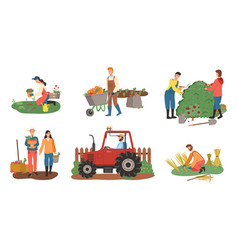 Farming people tractor and gardening farmers vector