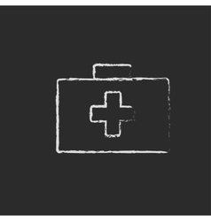 First aid kit icon drawn in chalk vector image