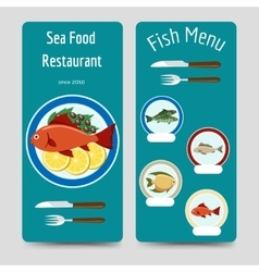 Fish menu flyers template vector