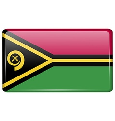 Flags Vanuatu in the form of a magnet on vector