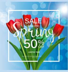 Floral abstract design spring sale banner template vector