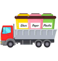 garbage containers in truck cab refuse sorting vector image