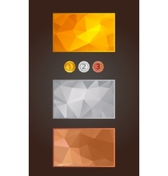 gold silver and bronze cards and medals set vector image