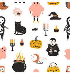halloween seamless pattern with scary and spooky vector image