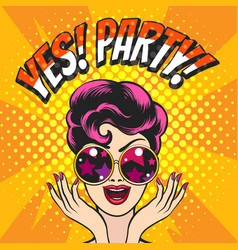 Happy girl in glasses and wording yes party vector