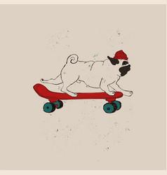 hipster pug dog on skateboard vector image