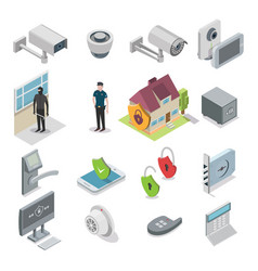 Home security isometric icon set vector