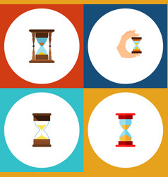 icon flat sandglass set of sand timer clock vector image