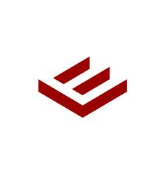 initial e negative space logo vector image