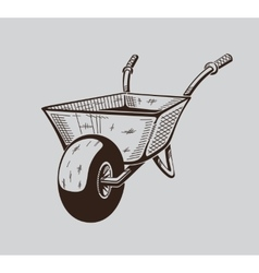 It is monochrome of wheelbarrow vector image