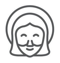Jesus line icon portrait and christ god sign vector