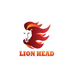 lion head logo color line design template vector image