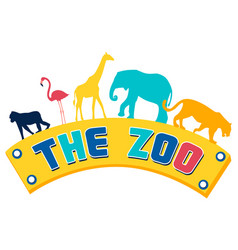 logo plate pointer zoo animals on text in vector image