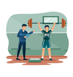 Male character in sport suit is lifting vector