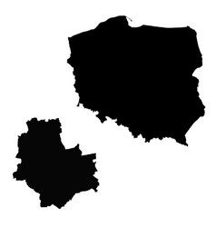 Map poland and warsaw country and capital vector