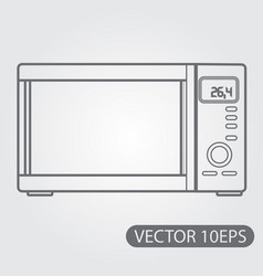 Microwave icon black and white outline drawing vector