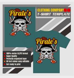 Mock up clothing company t-shirt templatepirate vector