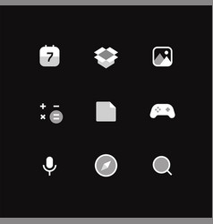 modern smartphone icons set on black background vector image
