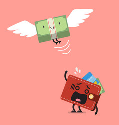 money bill flying out of wallet character vector image