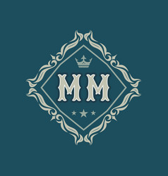 monogram mm letters - concept logo template design vector image