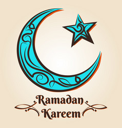 moon and star ramadan kareem emblem vector image vector image