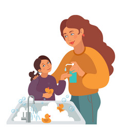Mother washes girls hands with liquid soap vector