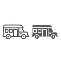 Motorhome line and glyph icon transportation and vector
