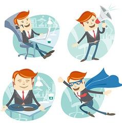 Office man hipster set flying super man wearing vector image