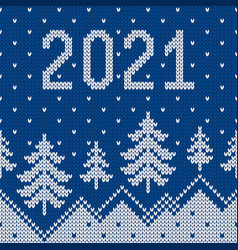 Pattern with christmas trees snowdrifts 2021 new vector