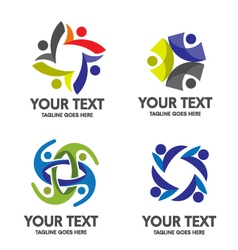 people community logo set vector image