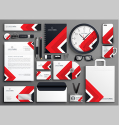 Red professional business branding stationery set vector