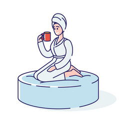 Relaxed woman in towel and bathrobe drinks tea vector