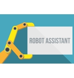 Robot hand holding blank sign with space for text vector image