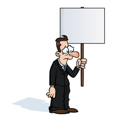 Sad business man with protest sign vector image
