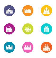 Sanctuary icons set flat style vector